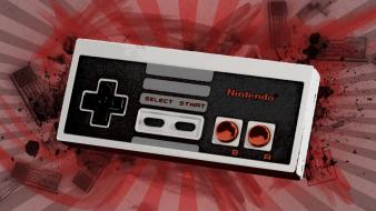 Nintendo video games grunge splatter ash nes controller wallpaper