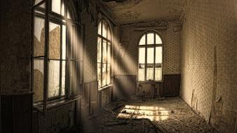 Old houses window panes house sun rays wallpaper
