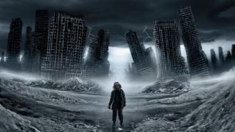 Path men buildings lonely artwork apocalyptic romantically wallpaper