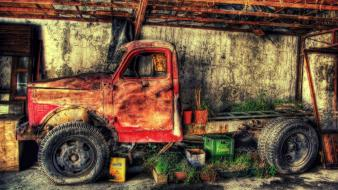 Red trucks hdr photography wallpaper