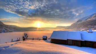 Sunset landscapes winter wallpaper