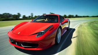 Trees red cars ferrari italy races speed auto wallpaper