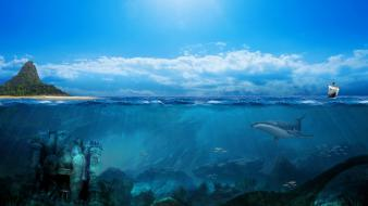 Underwater landmark sealife skies kumari kandam ocen wallpaper