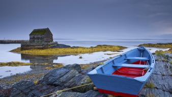 Water blue nature rocks boats nova scotia wallpaper