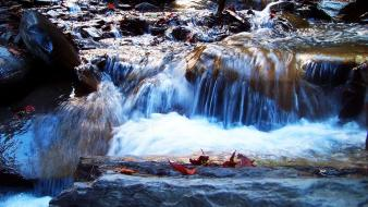 Water nature rocks streams waterfalls creek waterscape wallpaper