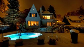 Winter snow houses backyard swimming pools wallpaper