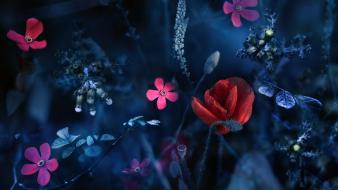 Abstract blue artistic flowers red pink wallpaper