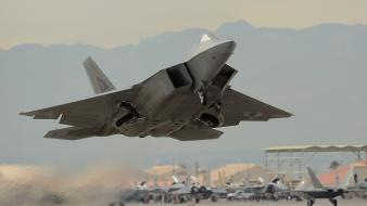 Aircraft f-22 raptor take off wallpaper
