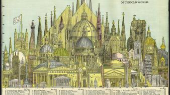 Architecture historic infographics wallpaper