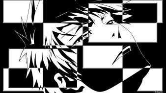 Black and white bleach kurosaki ichigo faces wallpaper