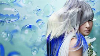 Bubbles asians bangs eyelashes silver hair hairstyle wallpaper