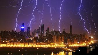 China buildings lightning city skyline bolts bing wallpaper