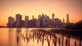 Cityscapes new york city skyscrapers docks wallpaper
