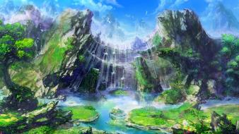 Cliffs fantasy art streams artwork waterfalls rivers wallpaper