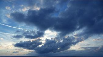 Clouds horizon seascapes caribbean sea sky wallpaper