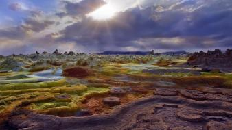 Clouds landscapes sun minerals ethiopia bing rock formations wallpaper