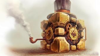 Companion cube tophat artwork aperture laboratories pipes wallpaper
