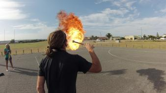 Dreads wide-angle gopro blue skies firebreathing breathing wallpaper