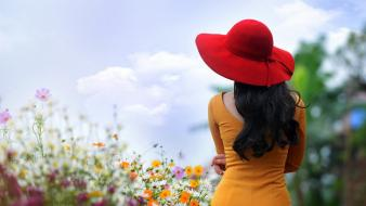 Flowers long hair yellow dress red hat wallpaper