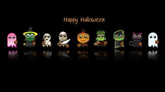 Happy halloween holidays characters black background wallpaper