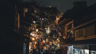 Japan cityscapes night houses asia wallpaper
