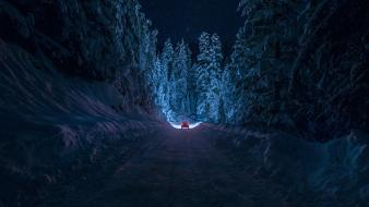 Landscapes snow trees night cars roads wallpaper