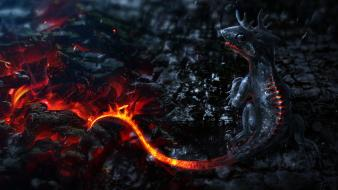 Lava smoke creatures artwork mythical magma ashes wallpaper