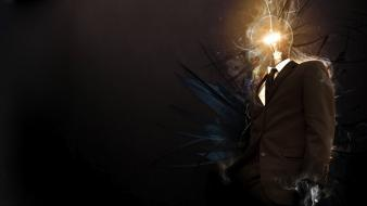 Light suit smoke tie men lamps wallpaper