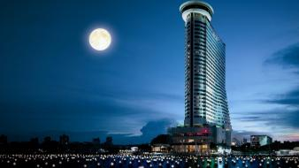 Lights architecture moon buildings thailand night sky wallpaper