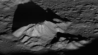 Mountains landscapes outer space moon shadows monochrome wallpaper