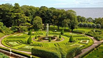Nature trees garden fountains united kingdom hedges bushes wallpaper