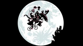 Night bicycles predator moon parody e.t. aliens wallpaper