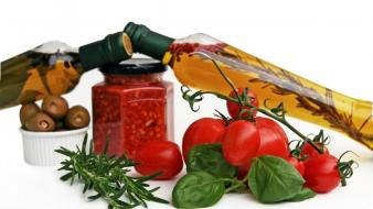 Oil bottles tomatoes spices olives wallpaper