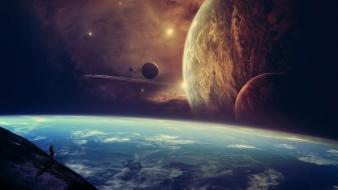Outer space planets skies wallpaper