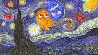 Parody vincent van gogh pac-man starry night wallpaper