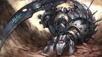 Robot futuristic weapons technology armor sci-fi wallpaper