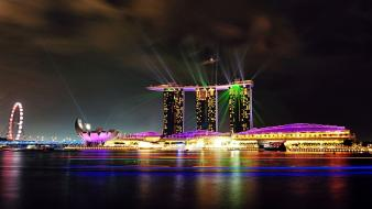 Sand cityscapes night lights singapore bay marina cities Wallpaper