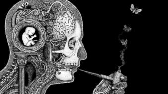Smoking skulls artistic human surreal brain pipes wallpaper