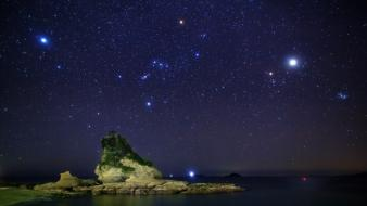 Stars stones sky skies constellations sea see wallpaper