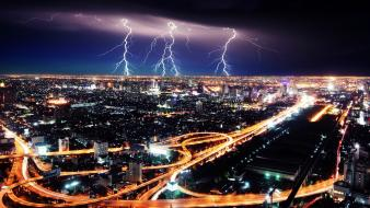 Storm traffic lights roads lightning cities skies wallpaper