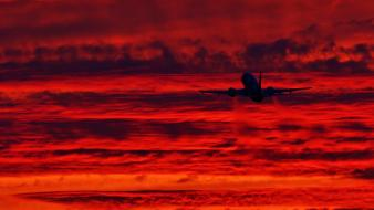 Sunset aircraft airliners aviation Wallpaper