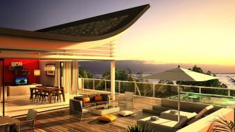 Terrace villa luxus luxury view Wallpaper