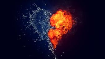 Water fire hearts wallpaper