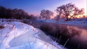 Water ice landscapes nature snow sun trees rivers wallpaper