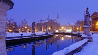 Winter snow italy statues reflections bing wallpaper