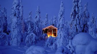 Winter snow trees finland cabin landscapes huts bing wallpaper