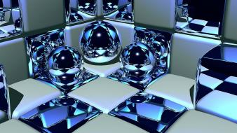 Abstract cgi balls cubes digital art reflections 3d Wallpaper