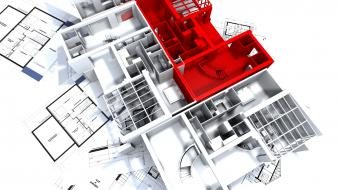 Architecture design 3d blueprint wallpaper