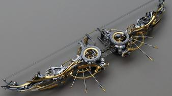 Artistic cgi steampunk compound bow (weapon) wallpaper