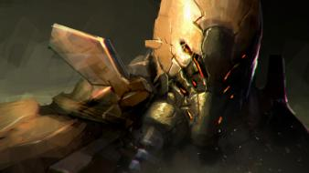 Artistic mech technology glowing masks artwork wallpaper